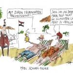Karikatur der Frankfurter Rundschau zur deutschen Debatte um den arabischen Aufstand